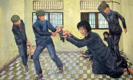 Vann Nath painting of the Khmer Rouge S21 prison: soldiers steal a baby from a woman