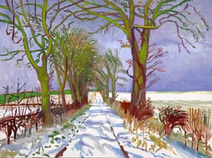 David Hockney's Winter Tunnel with Snow, March, 2006, oil on canvas