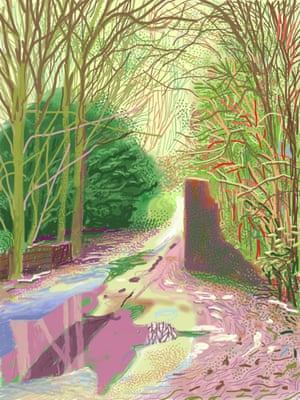 iPad drawing No 2 from David Hockney's The Arrival of Spring in Woldgate, East Yorkshire 2011