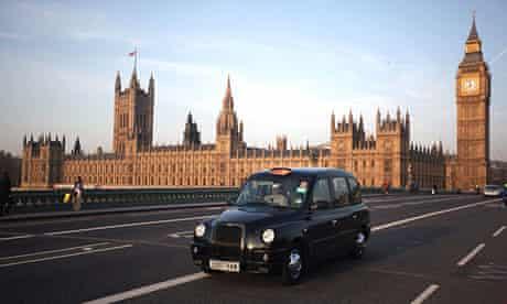 End of the road? … an Austin TX4 black cab crosses Westminster bridge in London.