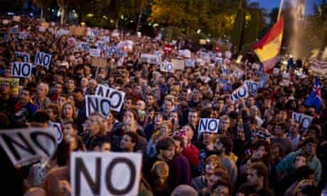 Protesters against spending cuts in Spain