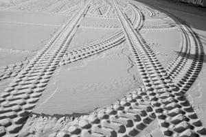 Tyre tracks on beach in Deauville