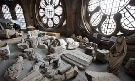 Statues in storage in the triforium