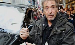 Al Pacino leaves the Gerald Schoenfeld theatre in New York