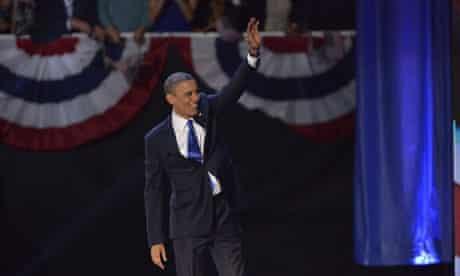 Barack Obama victorious on election night 2012