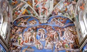 The Last Judgment by Michelangelo in the Sistine Chapel