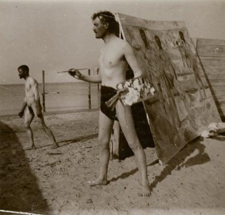 Edvard Munch Self-portrait on Beach, 1907