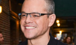 Actor Matt Damon enters the Late Show With David Letterman in New York