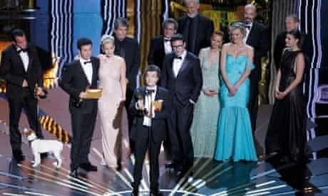 "Oscars 2012: producer of ""The Artist"" Thomas Langmann accepts the Oscar for best film"