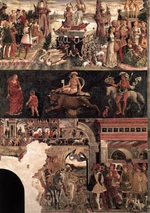 Francesco del Cossa's April, in the Room of the Months, Palazzo Schifanoia, Ferrara