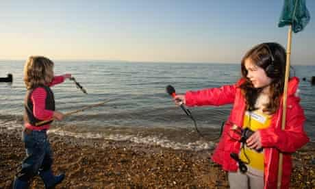 Esme Petridis collects sounds on the beach