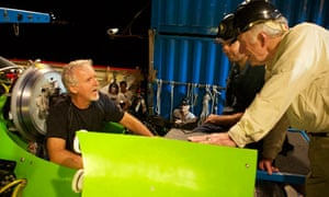 Titanic director James Cameron preparing for his dive in the Deepsea Challenger submersible