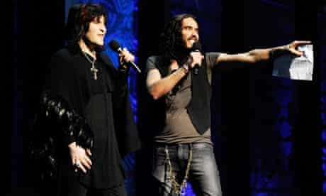 Noel Fielding and Russell Brand perform at the Secret Policeman's Ball