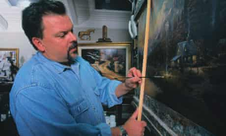 Artist Thomas Kinkade at work