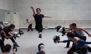 Royal Ballet dancers rehearse with Chris Ofili's hound heads.
