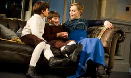 Vincent Curson-Smith (Ivar), Jake Tuesley (Jon) and Hattie Morahan (Nora) in A Doll's House