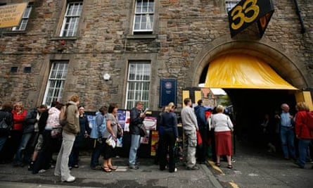 On queue … theatregoers line up at Pleasance Courtyard.