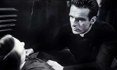 Montgomery Clift as the priest in Hitchcock's I Confess
