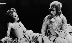 Felicity Kendal as Constanze and Simon Callow as Mozart in the 1980 production of Amadeus