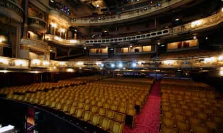 Empty auditorium on the last night of The Producers at the Theatre Royal in Covent Garden