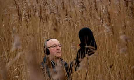 Chris Watson in Benjamin Britten's outdoor 'studio' near Aldeburgh, Suffolk.