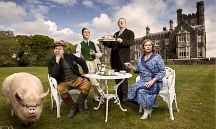 From left: Timothy Spall, Jack Farthing, Mark Williams and Jennifer Saunders in Blandings