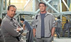 Arnold Schwarzenegger and Sylvester Stallone in Escape Plan (2013)