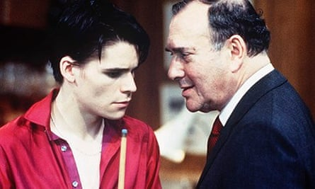 Hans Matheson and Harold Pinter in the film version of Mojo