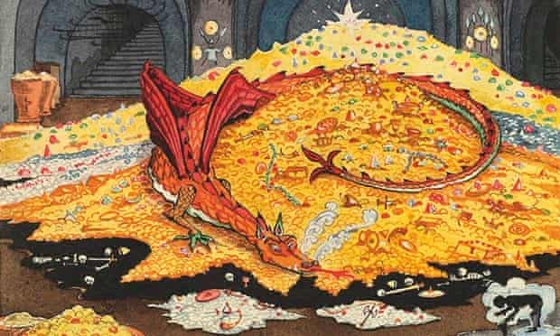 A detail from JRR Tolkien's drawing Conversation with Smaug.