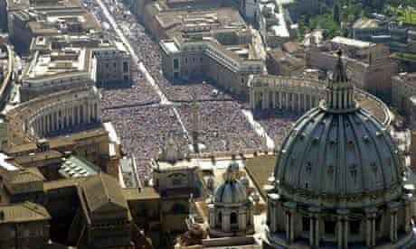 Vatican City, showing St Peter's Basilica, bottom, overlooking Gian Lorenzo Bernini's piazza.