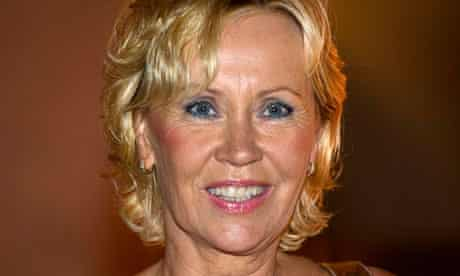 Faltskog, former member of Swedish pop group ABBA, smiles in Stockholm