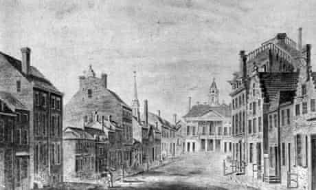 Broad Street, Wall Street and City Hall, New York circa 1797