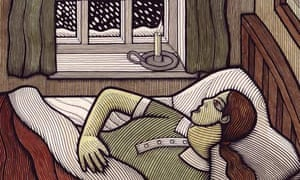 A woman in bed by a snowy window