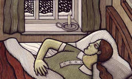 A woman in bed by a snowy window