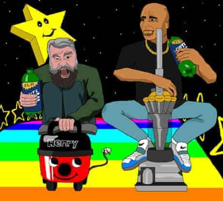 Flying colours … Brian Blessed and Goldie race vacuum cleaners on Mario Kart's Rainbow Road.