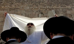 Priestly Blessing prayer during Passover at Western Wall in Jerusalem