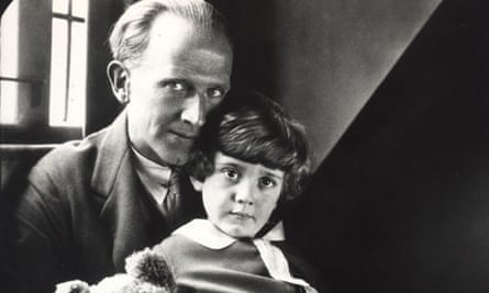 AA Milne with Christopher Robin and the original Pooh Bear in 1928