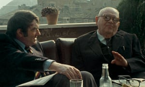 Lanzmann, left, with Benjamin Murmelstein in 1975, in a still from The Last of the Unjust