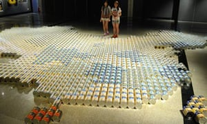 Ai Weiwei's map of China, an installation constructed from 2000 baby formula cans.
