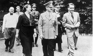 Richard Wagner's daughter-in-law escorts Adolf Hitler during the Bayreuth festival