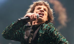 Mick Jagger of the Rolling Stones performs on the Pyramid stage at Glastonbury 2013