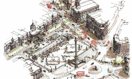 Richard Rogers drawing of Trafalgar Square