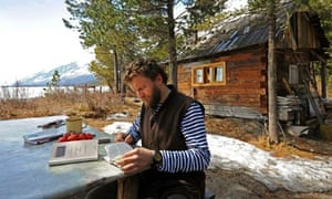 Sylvain Tesson at his cabin in the Siberian wilderness