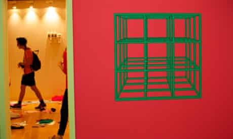 A Michael Craig-Martin picture by the entrance to  John Chamberlain's hardwood room