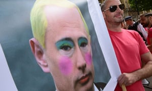 Vladimir Putin during a protest against Russia's anti-gay legislation on Downing Street