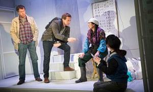 Foreign affairs … Sean Gilder (Mel), Stephen Campbell Moore (Joe Schofield), Sarah Lam (Feng Meihui)