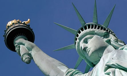 Crown of Statue of Liberty in New York harbor that will re-open to public on July 4th