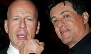 Expendable after all … Bruce Willis and Sylvester Stallone at the premiere for Hostage.
