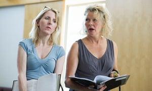 Fenella Woolgar and Stella Gonet in rehearsals for Handbagged