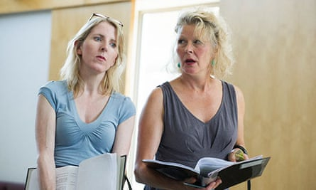 Fenella Woolgar and Stella Gonet in rehearsals for Handbagged